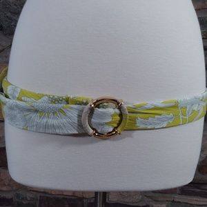 J. Crew belt yellow and white floral gold buckle